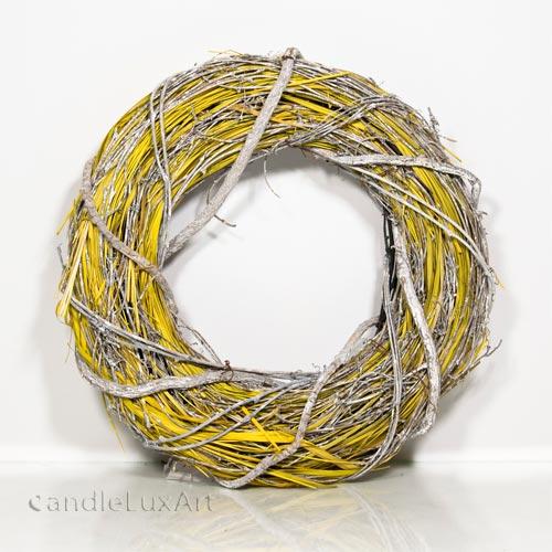 kranz ste bl ten gelb wei 30cm deko t rkranz tischdeko fensterdeko wanddeko porta westfalica. Black Bedroom Furniture Sets. Home Design Ideas