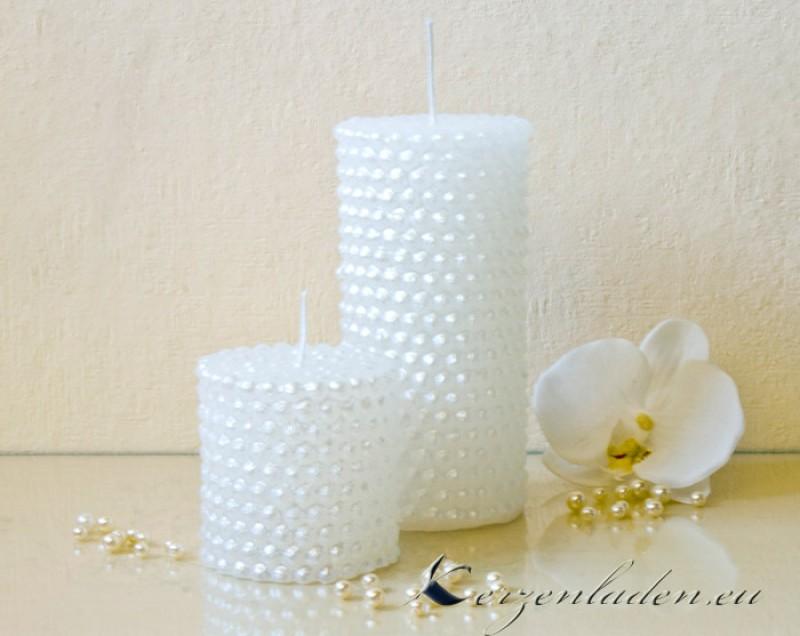 Kerze Perlen 7 14cm Kerzen Konfirmation Deko Hochzeit