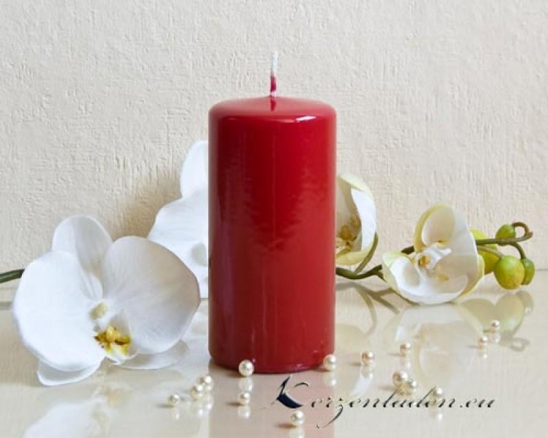 stumpenkerze hochglanz rubinrot 12 18cm kerze lackkerzen. Black Bedroom Furniture Sets. Home Design Ideas