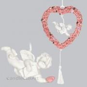 Engel im Rosenkranz mit Brief hängend L-20cm