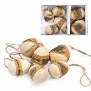 6er Box Ostereier aus Holz zum anhängen