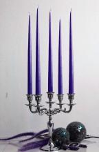 12er Tafelkerzen Spitzkerzen Leuchterkerzen Set - dunkellila 38cm