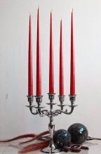 12er Tafelkerzen Spitzkerzen Leuchterkerzen Set - rot 38cm
