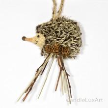Natur Anhänger Igel flach Jute Wolle 12x8cm