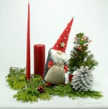 Weihnachtsmann Santa mit Sack 33cm - Muetze rot