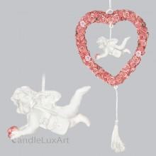 Engel im Rosenkranz mit Tasche hängend L-20cm
