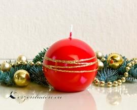 Kugelkerze Hochglanz lackiert - Goldverzierung - 8cm - rot