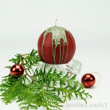 KugelkerzeTropfendesign - 8cm - rot grün