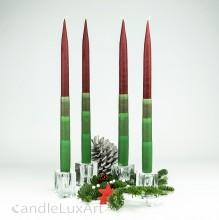 4  Leuchterkerzen zweifarbig bordo grün 35cm