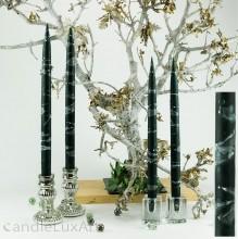 4  Leuchterkerzen tiefes dunkelgrün Dekor weiß 35cm