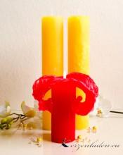 Lotuskerze mit Zitronenduft Duftkerze 25cm gelb