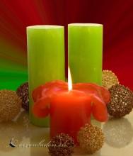 Lotuskerze grüner Apfel Duftkerze 18cm grün