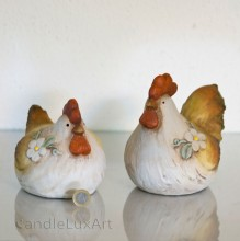 1 Set Keramik Huhn und Hahn - Handbemalt