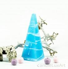 Pyramidenlkerze Tropfendesign - 15cm - Himmelblau weis