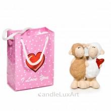 Keramik Schaf Paar Love mit Herz und Tasche - 10cm