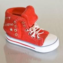 Spardose Schuh Keramik - rot
