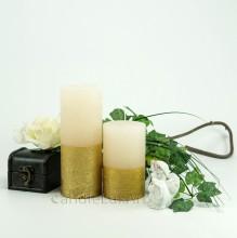 Stumpenkerze Royal creme Goldverzierung 12cm OR