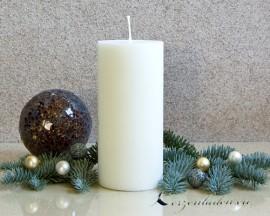 Stumpen matt weiß 15cm - 100% Stearin