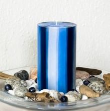 Stumpenkerze - Streifen 12cm 3 farbig dunkelblau/weiß/blau