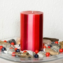 Stumpenkerze - Streifen 12cm 3 farbig rot/weß/bordo