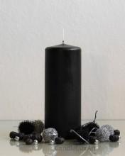 Stumpenkerze Matt Schwarz - 7 x 18cm