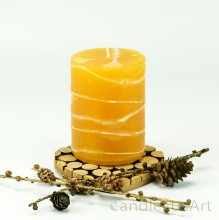 Stumpenlkerze Tropfendesign - 10cm - honig weis