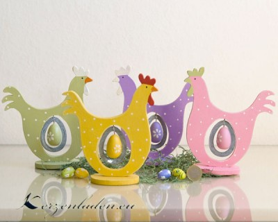 1 Holz Henne mit Ei - verschiedene Farben