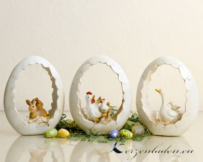 Polyresin Eiernest mit Gans Hase oder Huhn