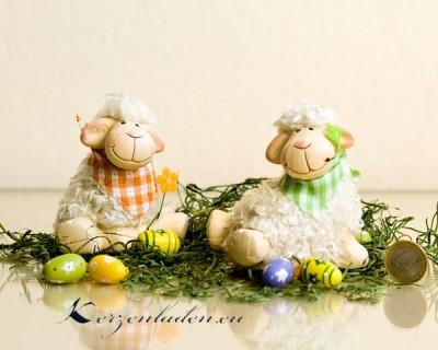 Keramik Woll Schaf - Halstuch orange und gruen