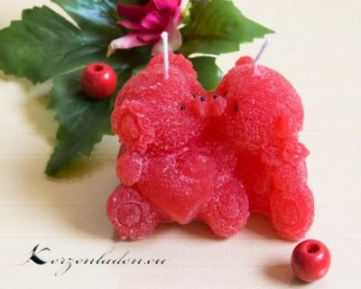 Kerze Bärchen Paar mit Herz - rosa / rot
