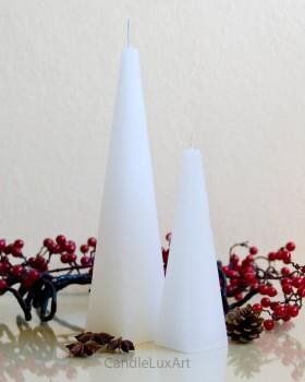 Pyramidenkerze Rustikal 16cm / 25cm  - weiß