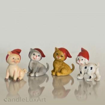Polyresin Figuren Hund Katze Schwein mit Mütze - 6cm