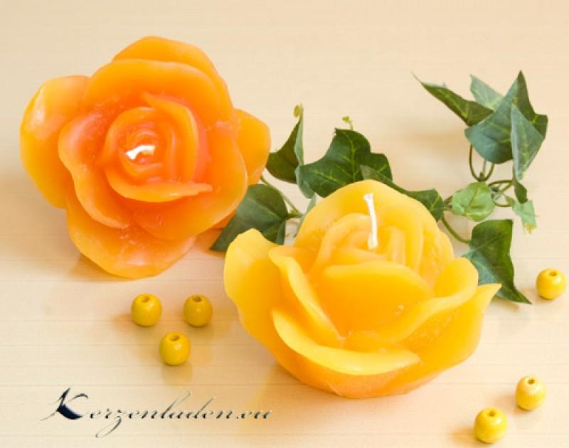 Kerze Rosenblüte Rose Kerzen Rosenkerzen Taufe Tischdeko Geschenke Gelb Weiß