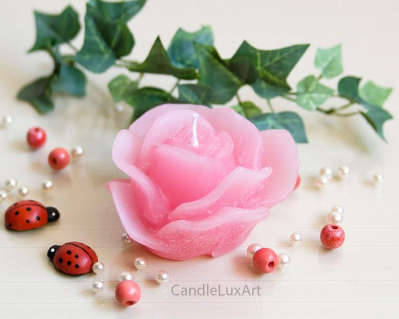 Kerze Rosenblüte rosa 9,5cm- Kerzen Rosenkerzen Taufe Deko Geschenke ...