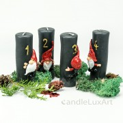 Adventskerzen Stumpen Weihnachtsmann anthrazit 11,5cm