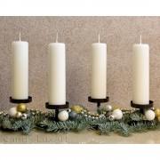 Adventskerzen Weihnachtskerzen 4er Set creme - 15cm
