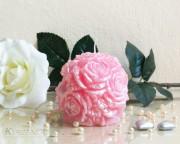 Rosen Kugelkerze - perlmutt - rosa