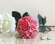 Rosen Kugelkerze - perlmutt - rot