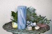 Stumpenkerze - Wellen - 18cm - hellblau