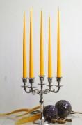 12er Tafelkerzen Spitzkerzen Leuchterkerzen Set - gelb 38cm