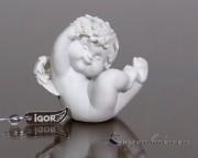 Engel Igor sitzend auf Rücken  6,5-7,5cm - Nr.3