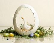 1 Polyresin Eiernest mit Gans