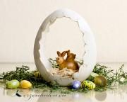 1 Polyresin Eiernest mit Hase