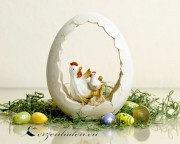 1 Polyresin Eiernest mit Huhn
