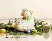 1 Keramik Woll Schaf - Halstuch gruen