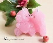 Kerze Bärchen Paar mit Herz - rosa