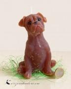 Figurenkerze Hund - Boxer braun 13cm