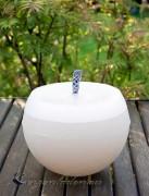 Gartenkerze Kugelkerze Outdoorkerze 15cm zweifarbig: creme/weiß