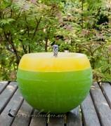 Gartenkerze Kugelkerze Outdoorkerze 15cm zweifarbig: grün/gelb