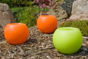 Gartenkerze Outdoorkerze Kugel Romantik 15cm orange